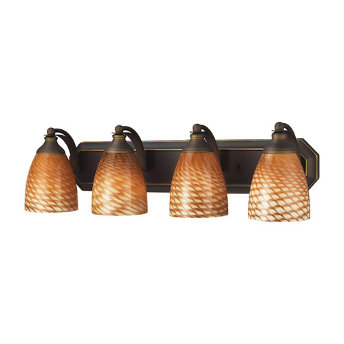 ELK Lighting 570-4B-C Mix-N-Match Vanity 4-Light Wall Lamp in Aged Bronze with Cocoa Glass