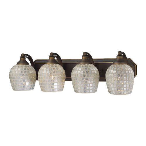 ELK Lighting 570-4B-SLV Mix-N-Match Vanity 4-Light Wall Lamp in Aged Bronze with Silver Glass