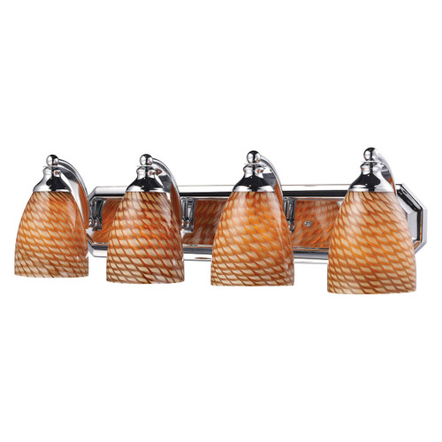 ELK Lighting 570-4C-C Mix and Match Vanity 4-Light Wall Lamp in Chrome with Cocoa Glass