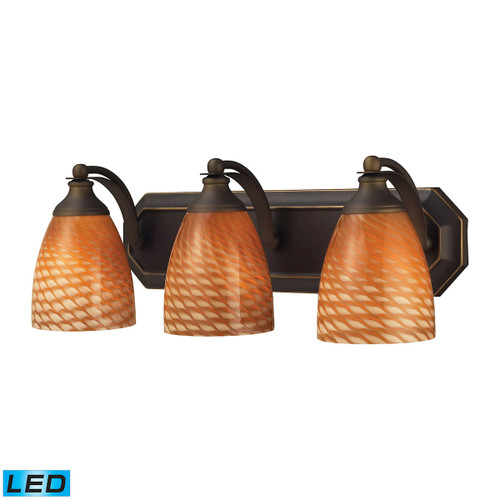 ELK Lighting 570-3B-C-LED Mix-N-Match Vanity 3-Light Wall Lamp in Aged Bronze with Cocoa Glass - Includes LED Bulbs