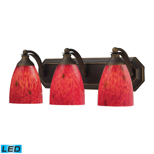 ELK Lighting 570-3B-FR-LED Mix-N-Match Vanity 3-Light Wall Lamp in Aged Bronze with Fire Red Glass - Includes LED Bulbs