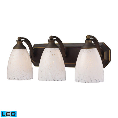 ELK Lighting 570-3B-SW-LED Mix-N-Match Vanity 3-Light Wall Lamp in Aged Bronze with Snow White Glass - Includes LED Bulbs