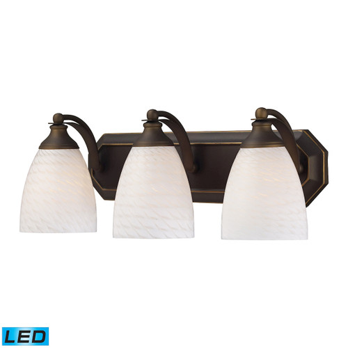 ELK Lighting 570-3B-WS-LED Mix-N-Match Vanity 3-Light Wall Lamp in Aged Bronze with White Swirl Glass - Includes LED Bulbs
