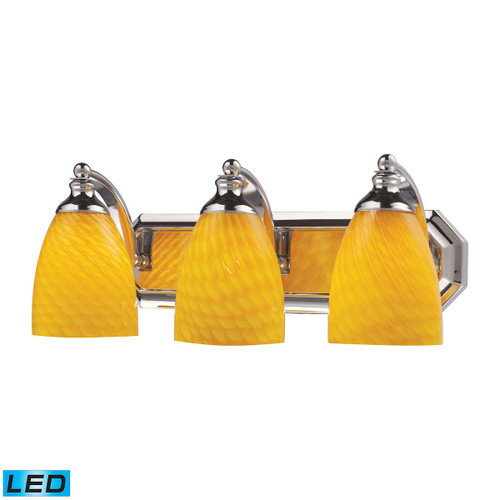 ELK Lighting 570-3C-CN-LED Mix and Match Vanity 3-Light Wall Lamp in Chrome with Canary Glass - Includes LED Bulbs