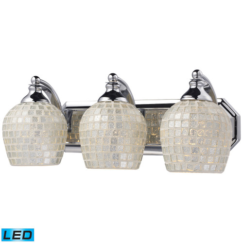 ELK Lighting 570-3C-SLV-LED Mix and Match Vanity 3-Light Wall Lamp in Chrome with Silver Glass - Includes LED Bulbs