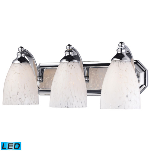 ELK Lighting 570-3C-SW-LED Mix and Match Vanity 3-Light Wall Lamp in Chrome with Snow White Glass - Includes LED Bulbs