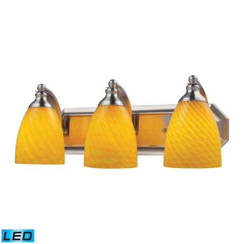 ELK Lighting 570-3N-CN-LED Mix-N-Match Vanity 3-Light Wall Lamp in Satin Nickel with Canary Glass - Includes LED Bulbs