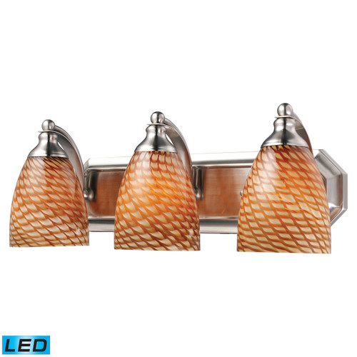 ELK Lighting 570-3N-C-LED Mix-N-Match Vanity 3-Light Wall Lamp in Satin Nickel with Cocoa Glass - Includes LED Bulbs