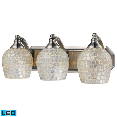 ELK Lighting 570-3N-SLV-LED Mix-N-Match Vanity 3-Light Wall Lamp in Satin Nickel with Silver Glass - Includes LED Bulbs
