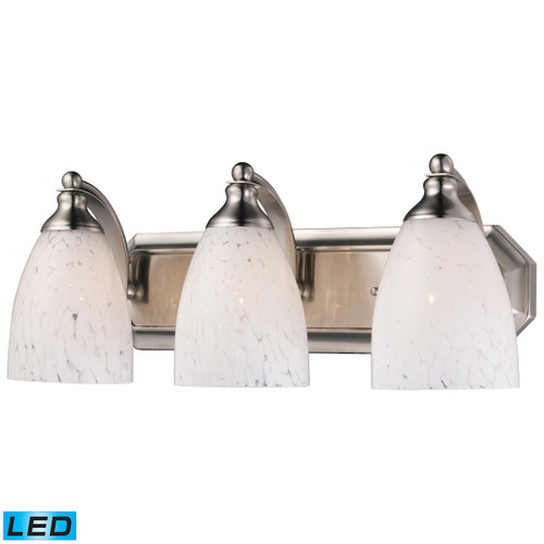 ELK Lighting 570-3N-SW-LED Mix-N-Match Vanity 3-Light Wall Lamp in Satin Nickel with Snow White Glass - Includes LED Bulbs