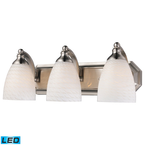 ELK Lighting 570-3N-WS-LED Mix-N-Match Vanity 3-Light Wall Lamp in Satin Nickel with White Swirl Glass - Includes LED Bulbs