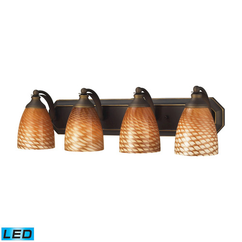 ELK Lighting 570-4B-C-LED Mix-N-Match Vanity 4-Light Wall Lamp in Aged Bronze with Cocoa Glass - Includes LED Bulbs