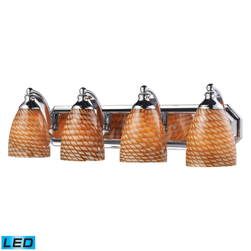 ELK Lighting 570-4C-C-LED Mix and Match Vanity 4-Light Wall Lamp in Chrome with Cocoa Glass - Includes LED Bulbs