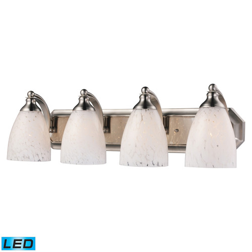 ELK Lighting 570-4N-SW-LED Mix-N-Match Vanity 4-Light Wall Lamp in Satin Nickel with Snow White Glass - Includes LED Bulbs