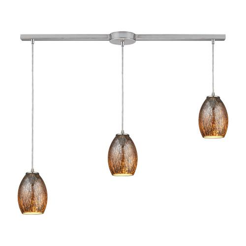 ELK Lighting 10256/3L Venture 3-Light Linear Pendant Fixture in Satin Nickel with Amber Crackle Glass