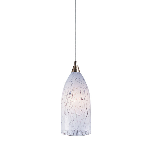 ELK Lighting 502-1SW Verona 1-Light Mini Pendant in Satin Nickel with Snow White Glass