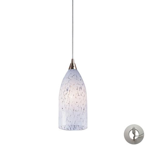 ELK Lighting 502-1SW-LA Verona 1-Light Mini Pendant in Satin Nickel with Snow White Glass - Includes Adapter Kit