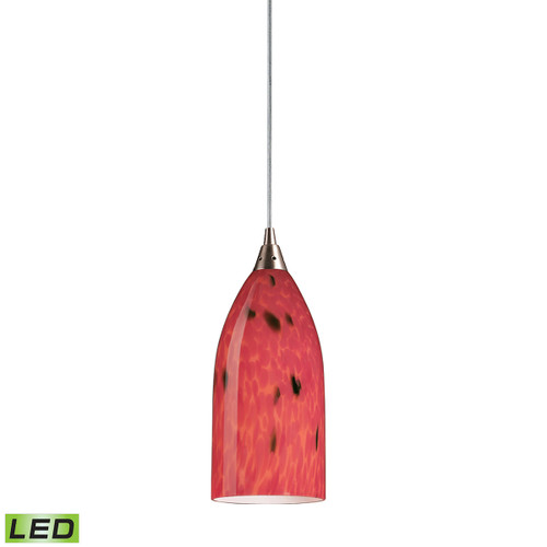 ELK Lighting 502-1FR-LED Verona 1-Light Mini Pendant in Satin Nickel with Fire Red Glass - Includes LED Bulb