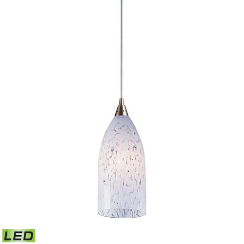 ELK Lighting 502-1SW-LED Verona 1-Light Mini Pendant in Satin Nickel with Snow White Glass - Includes LED Bulb