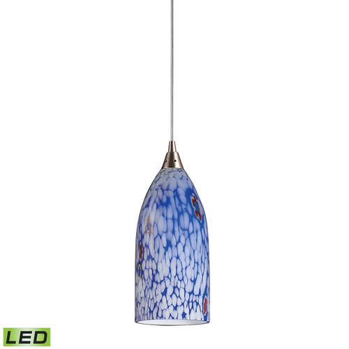 ELK Lighting 502-1BL-LED Verona 1-Light Mini Pendant in Satin Nickel with Starburst Blue Glass - Includes LED Bulb