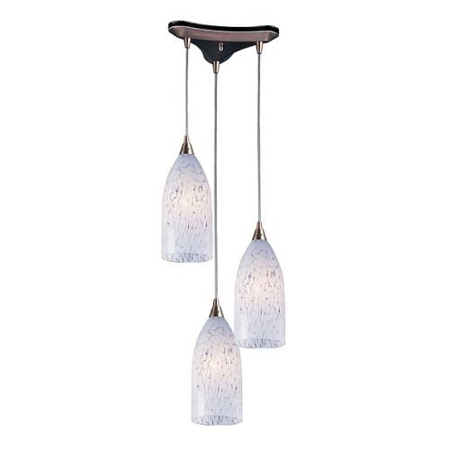 ELK Lighting 502-3SW Verona 3-Light Triangular Pendant Fixture in Satin Nickel with Snow White Glass