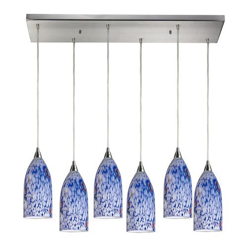 ELK Lighting 502-6RC-BL Verona 6-Light Rectangular Pendant Fixture in Satin Nickel with Starburst Blue Glass