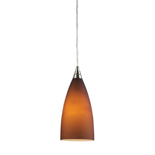 ELK Lighting 2582/1 Vesta 1-Light Mini Pendant in Satin Nickel with Tobacco Glass