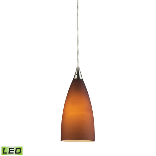 ELK Lighting 2582/1-LED Vesta 1-Light Mini Pendant in Satin Nickel with Tobacco Glass - Includes LED Bulb