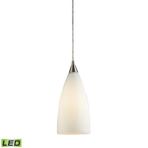 ELK Lighting 2580/1-LED Vesta 1-Light Mini Pendant in Satin Nickel with White Glass - Includes LED Bulb
