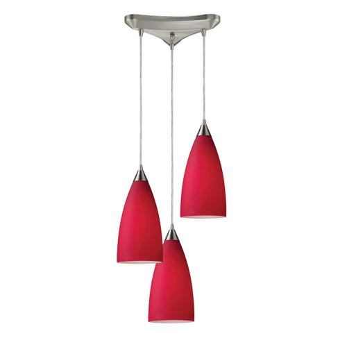 ELK Lighting 2583/3 Vesta 3-Light Triangular Pendant Fixture in Satin Nickel with Cardinal Red Glass