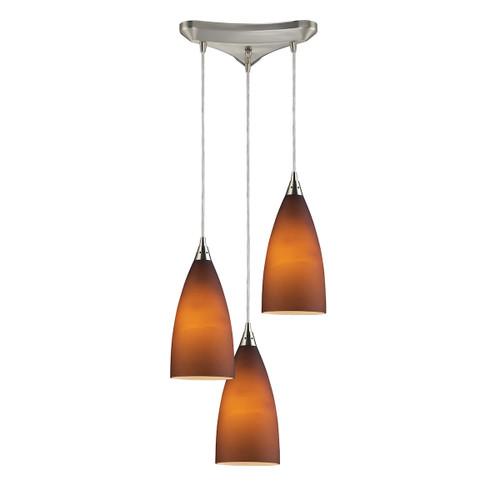 ELK Lighting 2582/3 Vesta 3-Light Triangular Pendant Fixture in Satin Nickel with Tobacco Glass