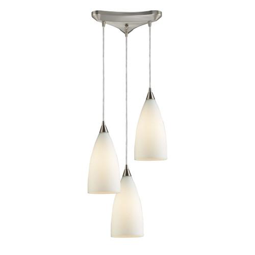 ELK Lighting 2580/3 Vesta 3-Light Triangular Pendant Fixture in Satin Nickel with White Glass