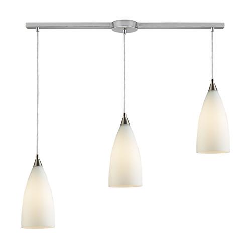 ELK Lighting 2580/3L Vesta 3-Light Linear Pendant Fixture in Satin Nickel with White Glass