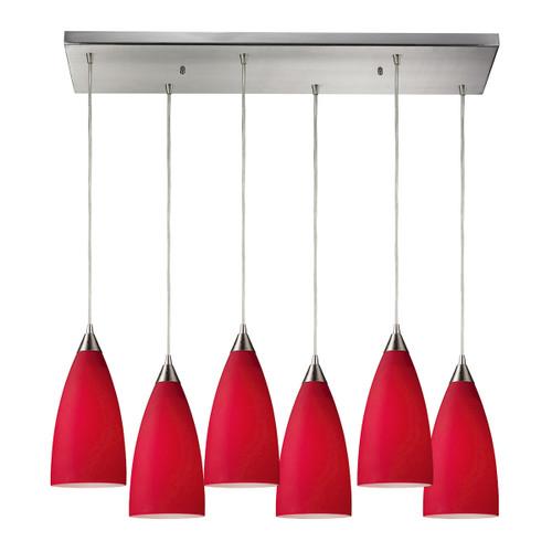ELK Lighting 2583/6RC Vesta 6-Light Rectangular Pendant Fixture in Satin Nickel with Cardinal Red Glass