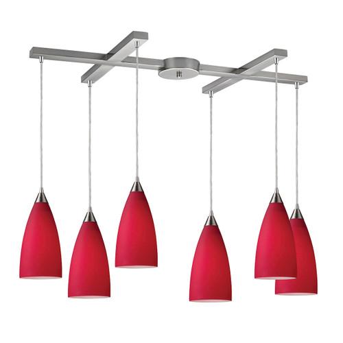 ELK Lighting 2583/6 Vesta 6-Light H-Bar Pendant Fixture in Satin Nickel with Cardinal Red Glass