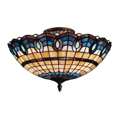 ELK Lighting 936-CB Victorian Ribbon 3-Light Semi Flush in Classic Bronze with Tiffany Style Glass
