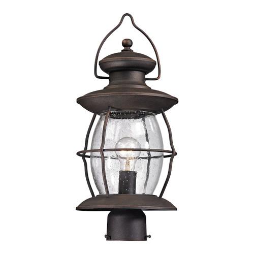 ELK Lighting 47041/1 Village Lantern 1-Light Outdoor Post Lantern in Weathered Charcoal