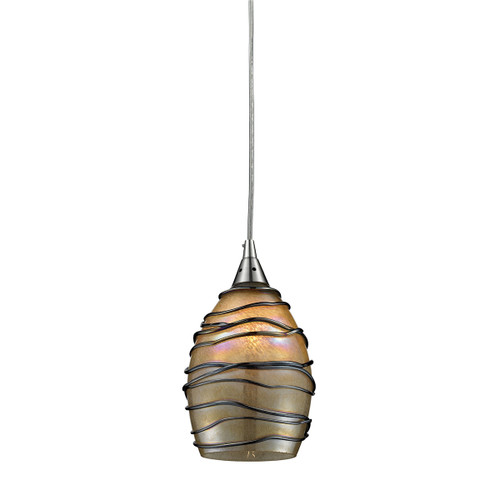 ELK Lighting 31142/1 Vines 1-Light Mini Pendant in Satin Nickel with Tan Glass