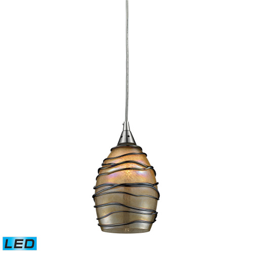 ELK Lighting 31142/1-LED Vines 1-Light Mini Pendant in Satin Nickel with Tan Glass - Includes LED Bulb