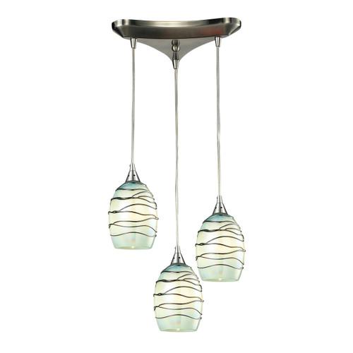 ELK Lighting 31348/3MN Vines 3-Light Triangular Pendant Fixture in Satin Nickel with Mint Glass