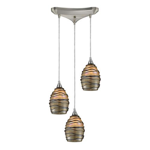 ELK Lighting 31142/3 Vines 3-Light Triangular Pendant Fixture in Satin Nickel with Tan Glass