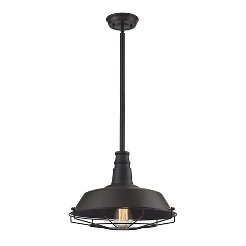 ELK Lighting 67046/1 Warehouse Pendant 1-Light Pendant in Oil Rubbed Bronze with Metal Shade and Cage