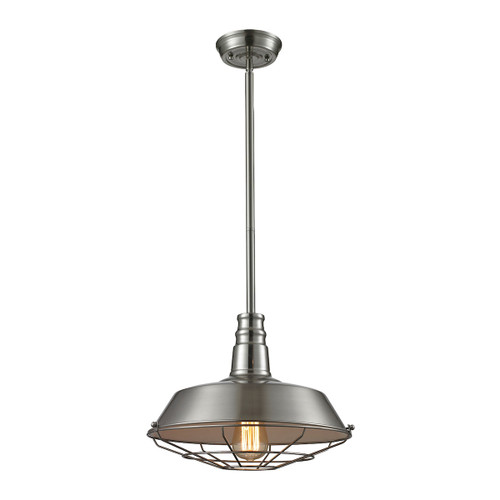 ELK Lighting 67066/1 Warehouse Pendant 1-Light Pendant in Satin Nickel with Metal Shade and Cage