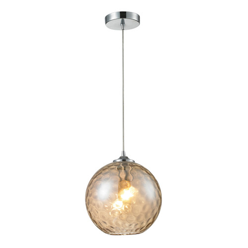 ELK Lighting 31380/1CMP Watersphere 1-Light Mini Pendant in Chrome with Hammered Amber Glass