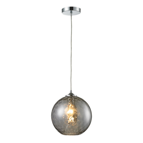 ELK Lighting 31380/1SMK Watersphere 1-Light Mini Pendant in Chrome with Hammered Smoke Glass