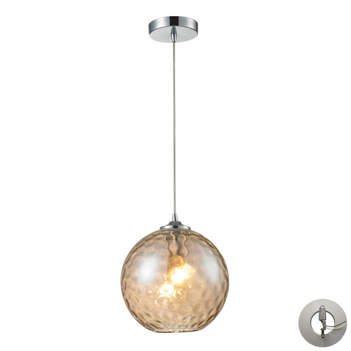 ELK Lighting 31380/1CMP-LA Watersphere 1-Light Mini Pendant in Chrome with Hammered Amber Glass - Includes Adapter Kit