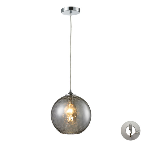 ELK Lighting 31380/1SMK-LA Watersphere 1-Light Mini Pendant in Chrome with Hammered Smoke Glass - Includes Adapter Kit