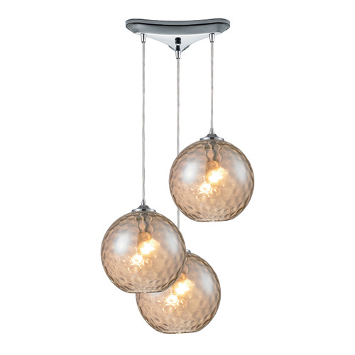 ELK Lighting 31380/3CMP Watersphere 3-Light Triangular Pendant Fixture in Chrome with Hammered Amber Glass