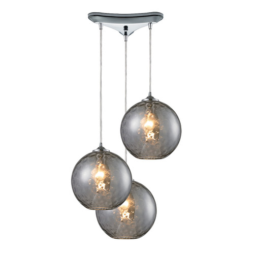 ELK Lighting 31380/3SMK Watersphere 3-Light Triangular Pendant Fixture in Chrome with Hammered Smoke Glass