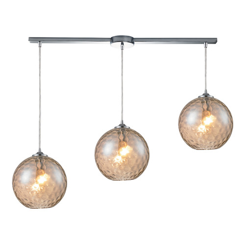 ELK Lighting 31380/3L-CMP Watersphere 3-Light Linear Pendant Fixture in Chrome with Hammered Amber Glass